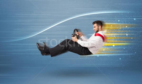 若い男 運転 虚数 高速 車 ぼやけた ストックフォト © ra2studio