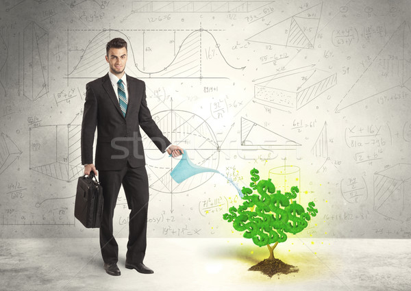 Business man watering a growing green dollar sign tree Stock photo © ra2studio