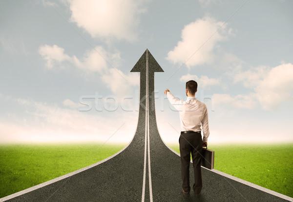Empresário 3D estrada seta homem rua Foto stock © ra2studio
