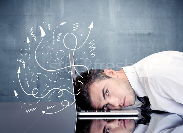 Gedachten depressief zakenman Stockfoto © ra2studio