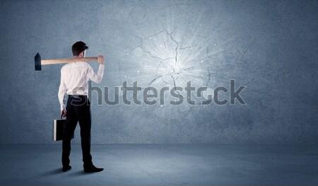 деловой человек стены молота служба каменные Сток-фото © ra2studio