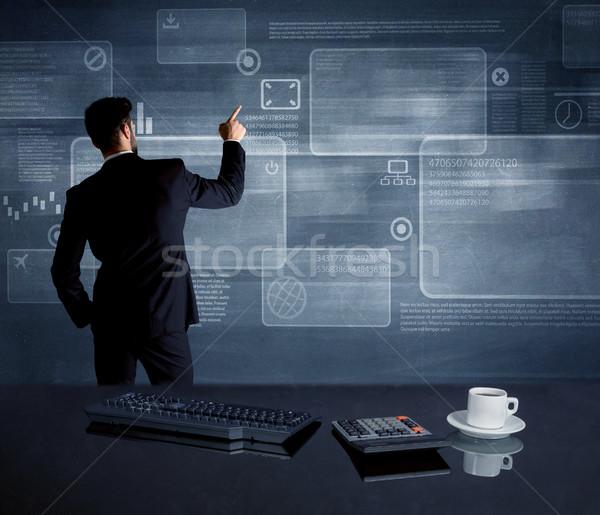 бизнесмен стратегия заседание служащий рисунок Сток-фото © ra2studio