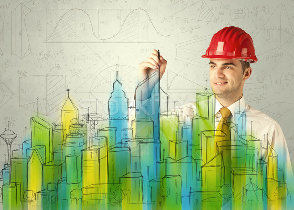 Stock photo: Business architect sketching a cityscape