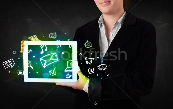 Persoon tablet media iconen symbolen Stockfoto © ra2studio