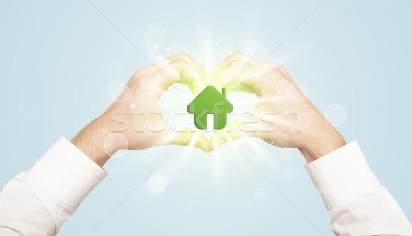 рук форме теплица центр дома Сток-фото © ra2studio