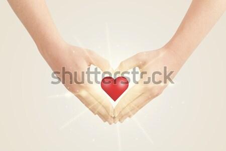 Handen vorm achtergrond teken huid Stockfoto © ra2studio