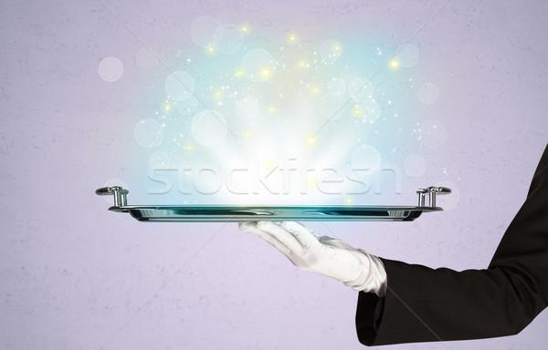Heldere lichten dienblad De ober schitteren Stockfoto © ra2studio