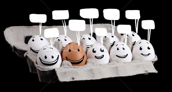 Oneven een grappig eieren gezichten Stockfoto © ra2studio