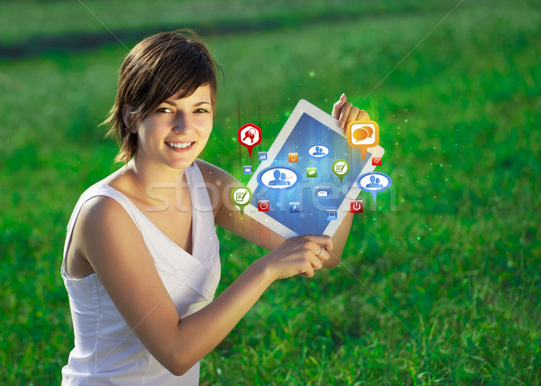 Stockfoto: Jonge · zakenvrouw · naar · moderne · tablet · abstract