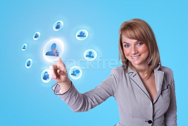 女性 手 社会的ネットワーク アイコン ビジネス ストックフォト © ra2studio