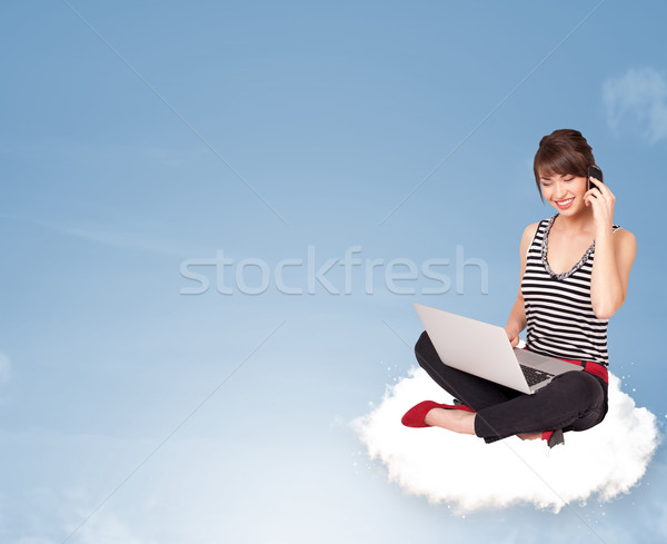 Stock photo: Young woman sitting on cloud with copy space