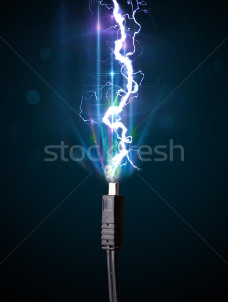 Elétrico cabo eletricidade relâmpago Foto stock © ra2studio