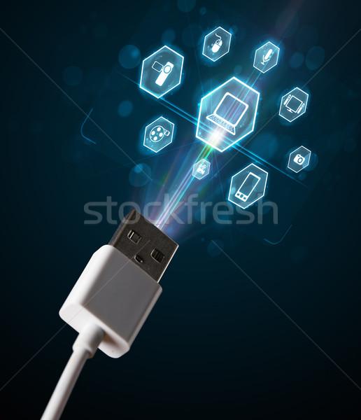 電気 ケーブル マルチメディア アイコン 外に ストックフォト © ra2studio