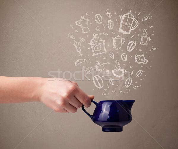 Tea pot with hand drawn kitchen accessories Stock photo © ra2studio