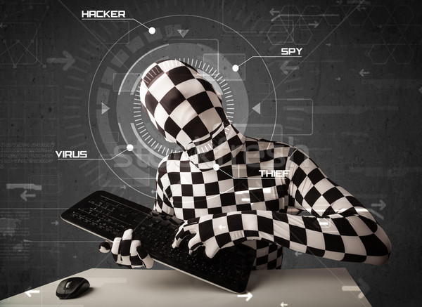 Hacker without identity in futuristic enviroment hacking personal information on tech background Stock photo © ra2studio