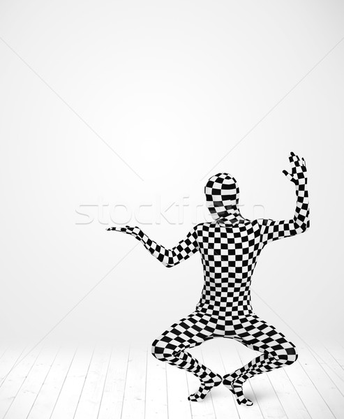 Anonim férfi bemutat termék egészalakos öltöny Stock fotó © ra2studio