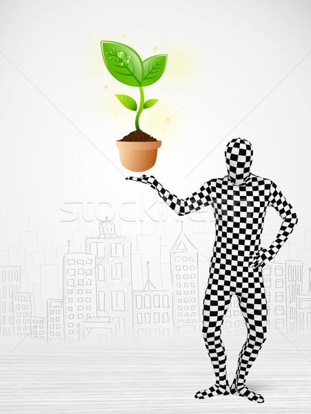 Férfi egészalakos öltöny öko növény vicces Stock fotó © ra2studio
