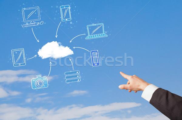 Hand aiming at cloud computing concept on blue sky Stock photo © ra2studio