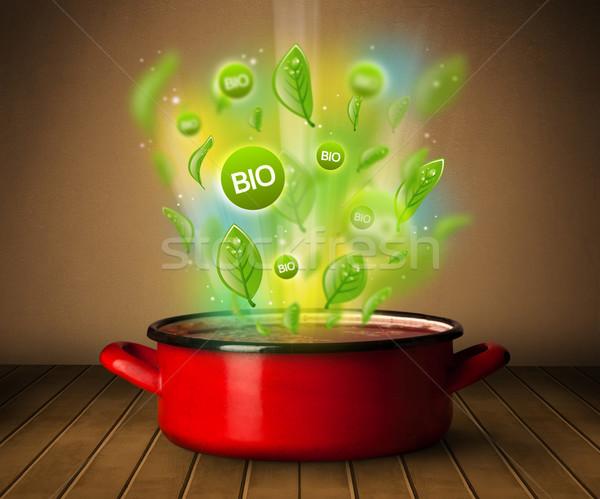 Bio feliratok ki lábas egészséges egészség Stock fotó © ra2studio