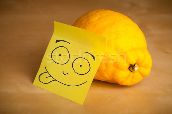 Jegyzet mosolygós arc citrom rajzolt papír arc Stock fotó © ra2studio