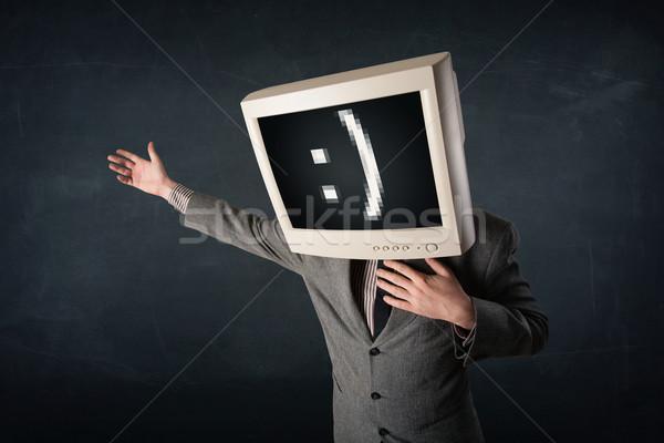 Grappig jonge zakenman monitor hoofd Stockfoto © ra2studio