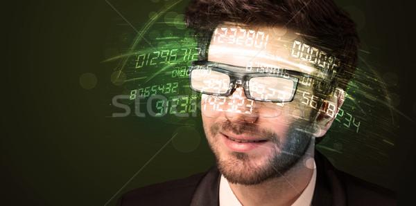 Homme d'affaires regarder élevé tech nombre ordinateur Photo stock © ra2studio