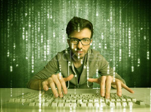 Online Hacking Fortschritte Hacker Datenbank Stock foto © ra2studio