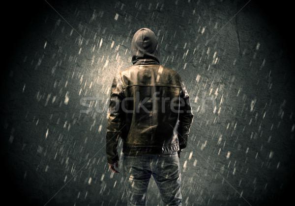 不明 立って 暗い 男 目に見える ストックフォト © ra2studio