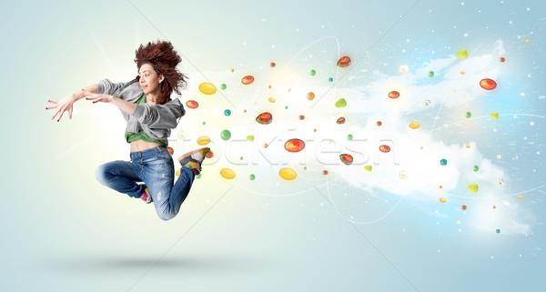 Foto d'archivio: Bella · donna · jumping · colorato · gemme · ragazza