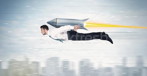 Hombre de negocios vuelo Jet Pack cohete Foto stock © ra2studio