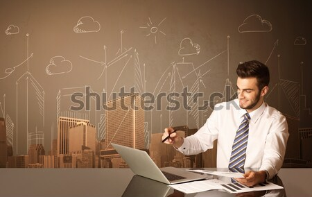 Businessman with buildings and measurements Stock photo © ra2studio