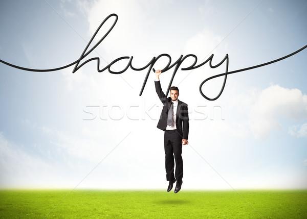 Akasztás üzletember boldog kötél kéz űr Stock fotó © ra2studio