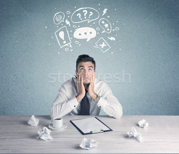 Uomo d'affari dubitare confusi impiegato Foto d'archivio © ra2studio