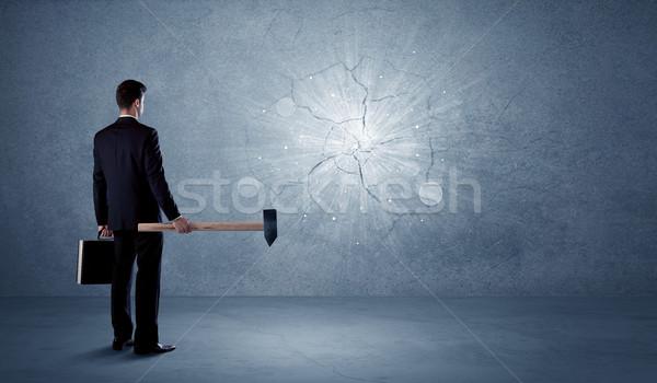 Iş adamı duvar çekiç ofis taş Stok fotoğraf © ra2studio