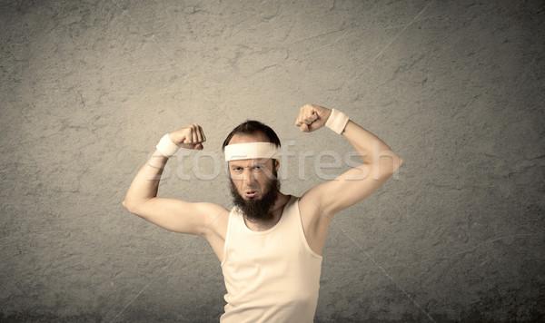 молодые мужчины мышцы молодым человеком борода Сток-фото © ra2studio