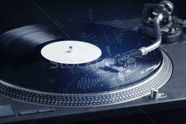 Turntable playing music with hand drawn cross lines Stock photo © ra2studio