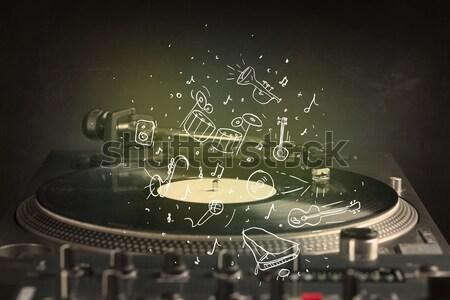 Turntable jouer musique classique icône musique Photo stock © ra2studio
