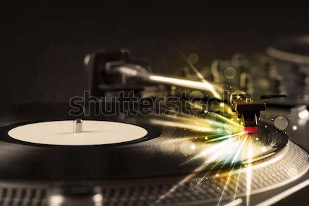 Zenelejátszó játszik bakelit izzik vonalak szükség Stock fotó © ra2studio