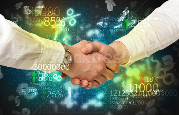 Economía apretón de manos número análisis hombre diseno Foto stock © ra2studio