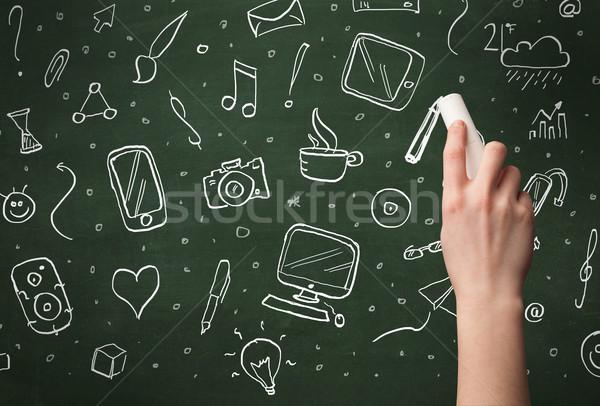 Hand schrijven iconen Blackboard persoon tekening Stockfoto © ra2studio