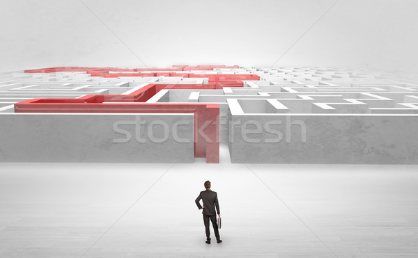 Businessman starting a stated labyrinth Stock photo © ra2studio