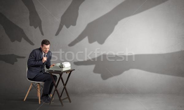 тень рук указывая небольшой работник стороны Сток-фото © ra2studio
