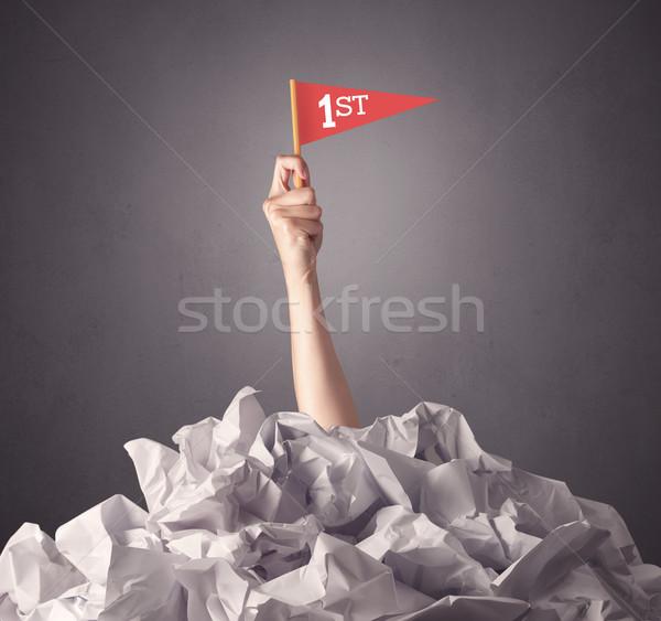 Stock fotó: Női · kéz · tart · nyertes · felirat · papír