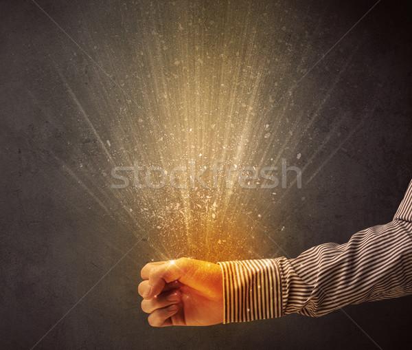 Strony żółty świetle młodych ręce Zdjęcia stock © ra2studio