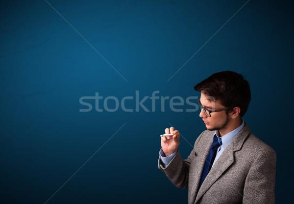 Stok fotoğraf: Genç · sigara · içme · sigara · bo · yakışıklı · ölüm