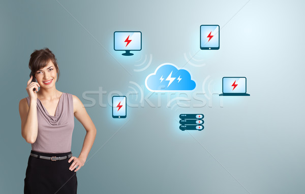 young woman making phone call with cloud computing network Stock photo © ra2studio