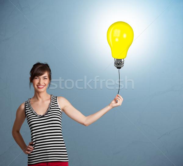 Stockfoto: Mooie · dame · gloeilamp · ballon · jonge · vrouw
