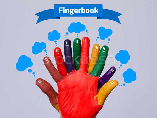 красочный счастливым пальца знак синий Сток-фото © ra2studio