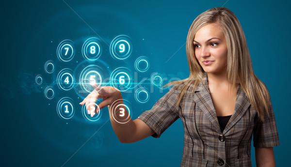 Foto stock: Mujer · de · negocios · alto · tecnología · tipo · moderna