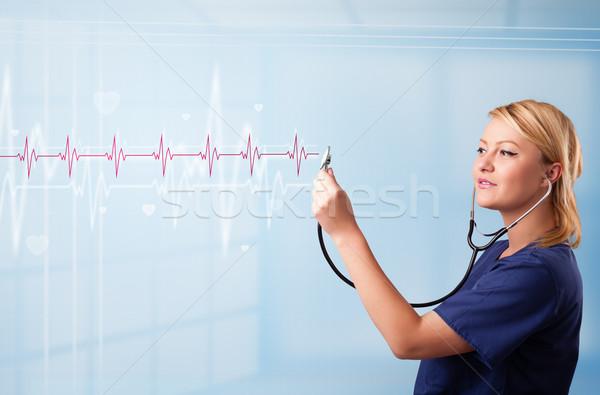 かなり 医療 リスニング 赤 パルス 中心 ストックフォト © ra2studio